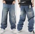 Hip hop calças de brim para homens 2017 moda de nova light blue jeans baggy skatista denim calças frete grátis