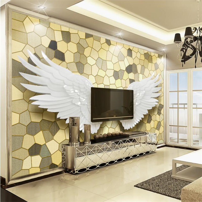 beibehang Nordic modern relief angel wings mosaic stone wall TV wall background custom large fresco green wallpaper