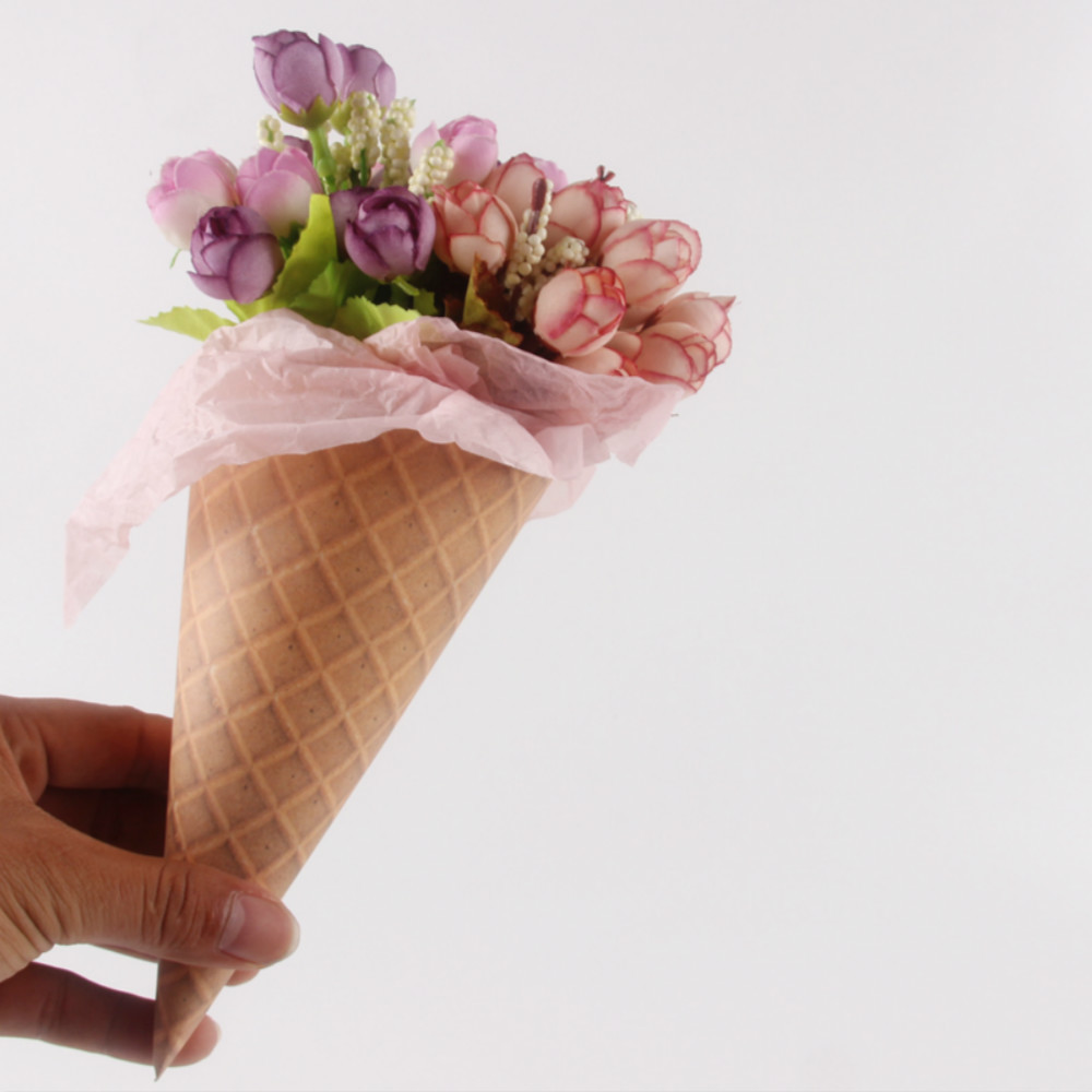 20pcs Ice Cream Cone Flowers Wrapping Paper Gift Packaging Paper