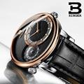 Модные крутые прозрачные мужские часы с суб-циферблатом, кварцевые, Карта мира, аналоговые часы, водонепроницаемые, настоящая кожа, сапфир, ...