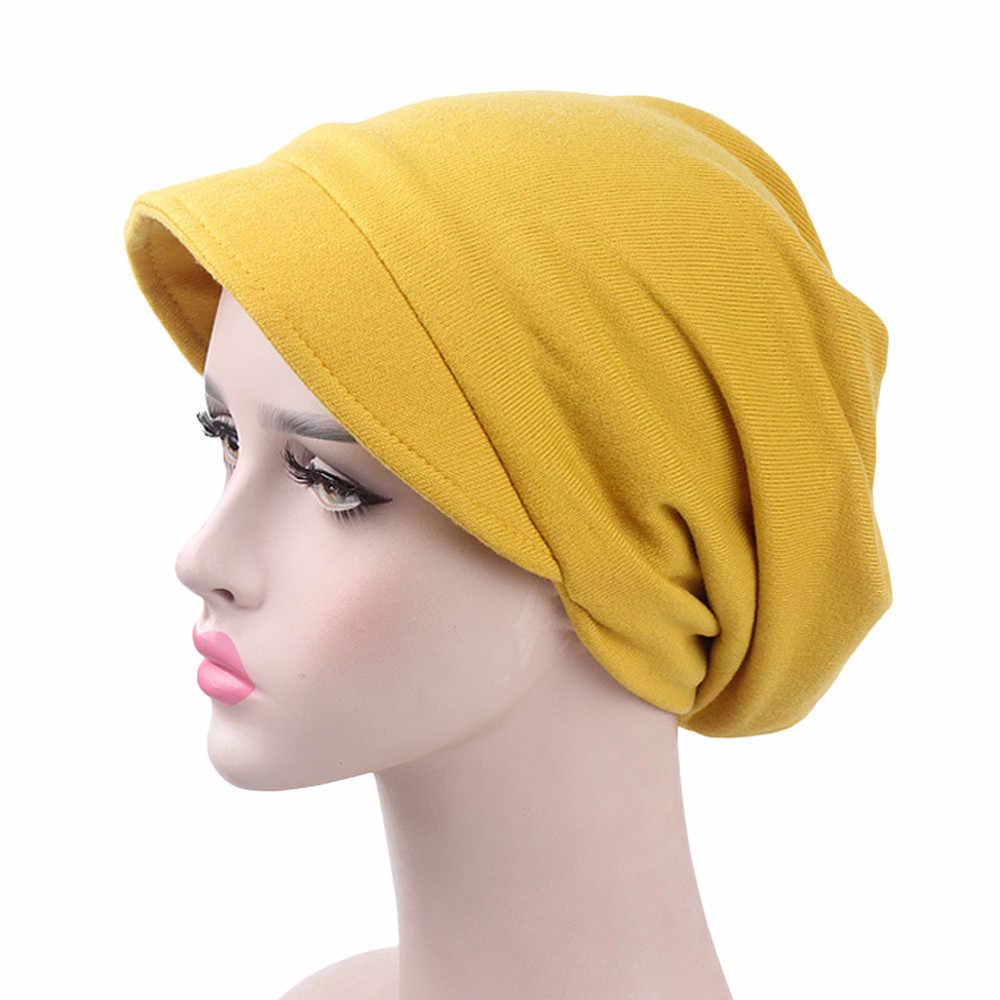 cc9abaa9a74 Soft Turban Women Headband Ruffle Cancer Chemo Hair Hats Beanie Stretch  Bandanas Scarf Head Wrap Headwear