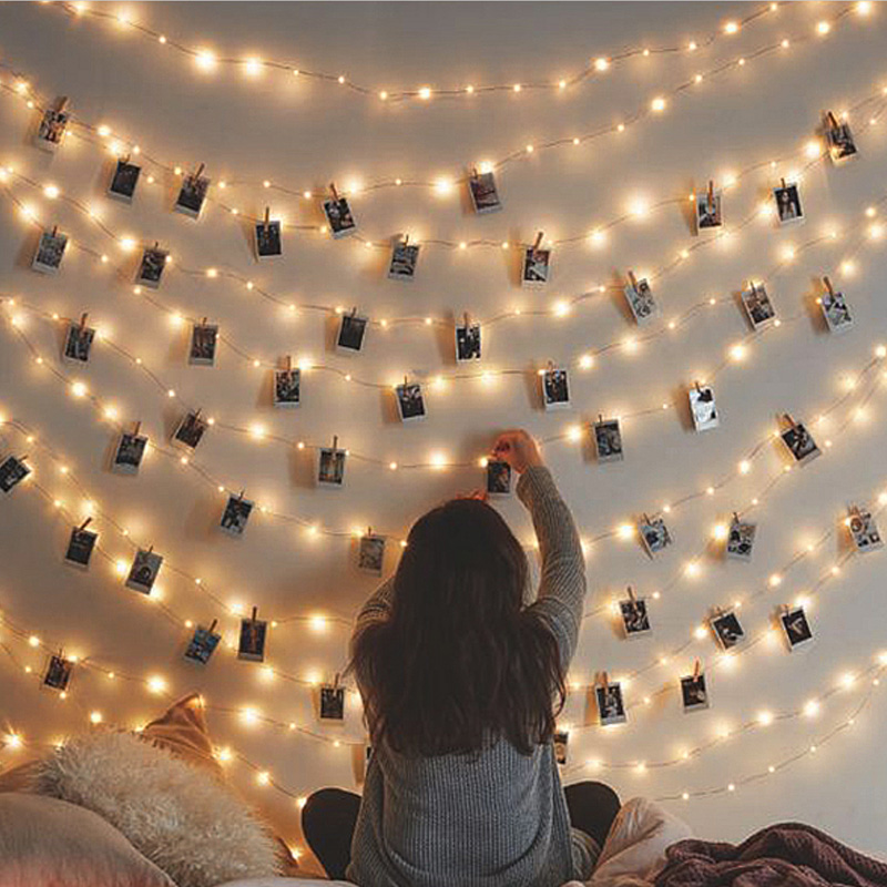 LED String Light Fairy Lamp Starry Battery Card Photo Clip 1M/2M Garland Festival Christmas Wedding Holiday Decoration Light