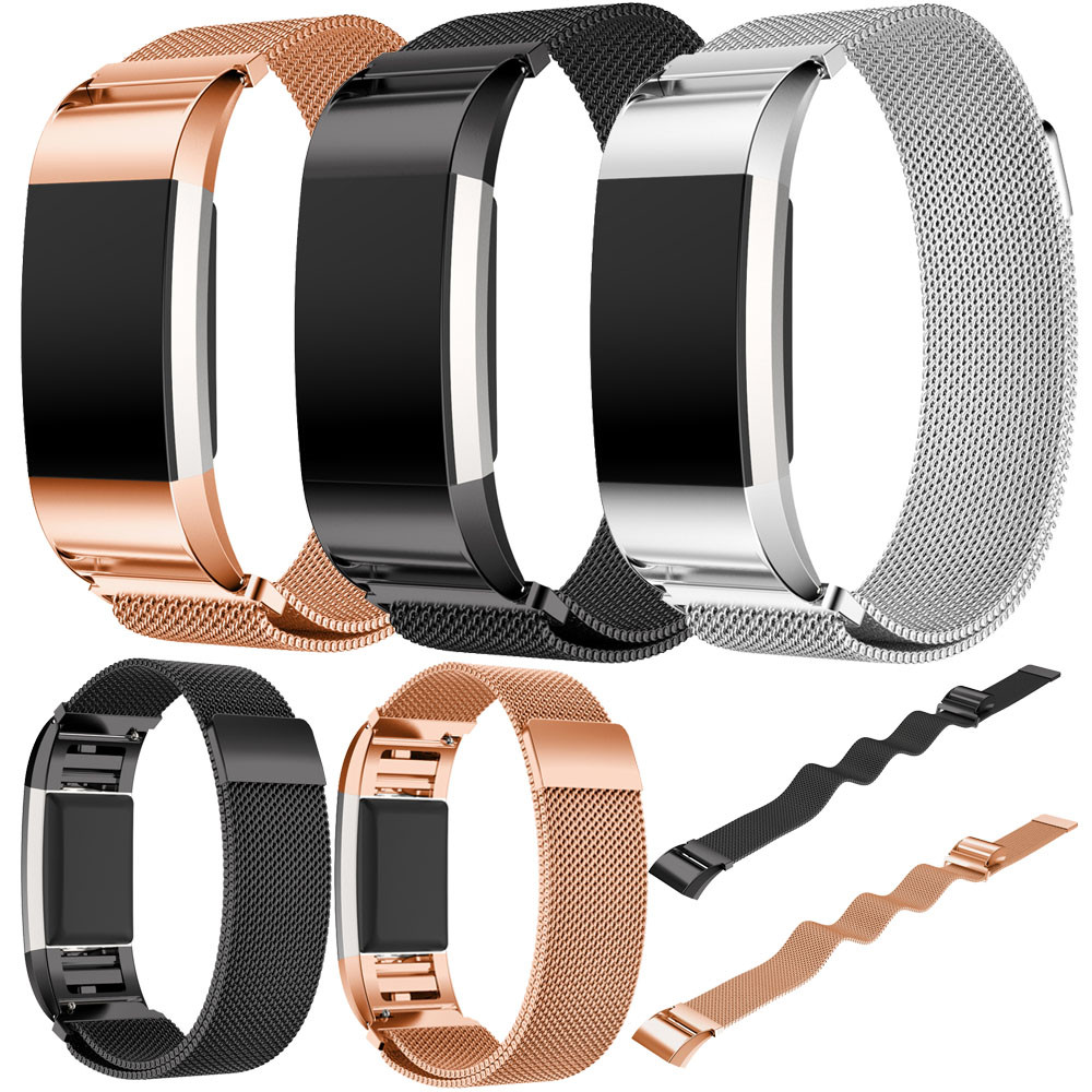 New Arrival 2018 Brand Watch bands Rose Gold Stainless Steel Bracelet Smart Watch Band Strap For Fitbit Charge 2 Strap Hot sale quality bracelet stainless steel strap 18mm for fitbit charge 2 smart watch metal band with adapter