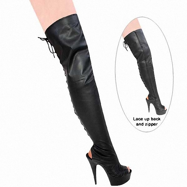 Здесь продается  sexy fish mouth 15 cm high heels with knee-high boots appeal conical with boots, pole dancing  Обувь
