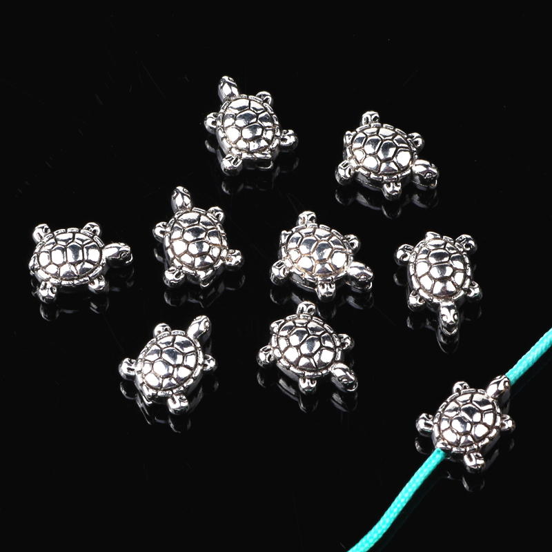 50pcs/lot Vintage Silver Alloy Animal 9mm Sea Turtle Spacer Beads for Bracelet&Necklace Diy Jewelry Makings(China)