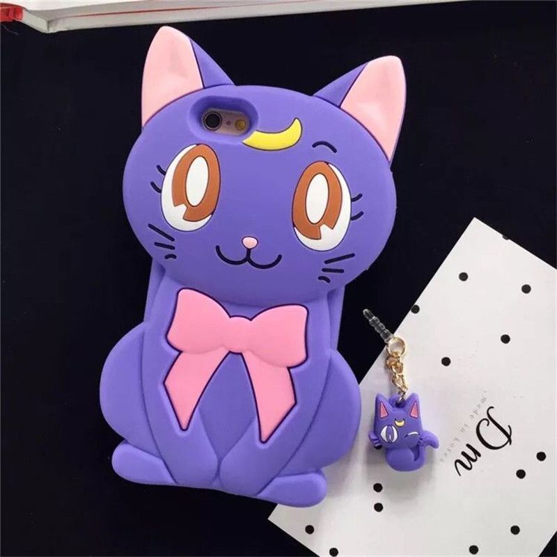 Cellphone Back Covers For iPhone7 Cute Cartoon Cat Phone Case For iPhone7plus Platic&Silicone Protective Shell Coque Funda Case