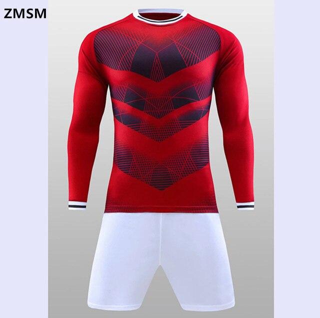 Zmsm manga larga hombres Camisetas de Soccer kit Fútbol 2017 cuello redondo  impreso uniforme de fútbol d3fb8df51c8af
