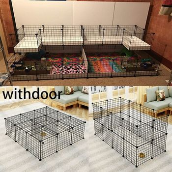 Portable DIY Pet Playpen Animal Crate DIY Metal Wire Kennel Extendable Pet Fence Bunny Cage For Puppy Rubbit Small Animal Pen 1