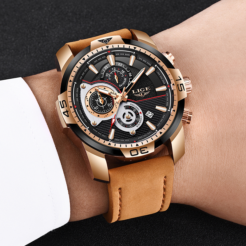 2020 LIGE Mens Watches Top Brand Luxury Casual Leather Quartz Clock Male Sport Waterproof Watch Gold Watch Men Relogio Masculino 5