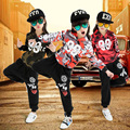 Kids camouflage Modern Jazz Dancewear Outfits Boys Girls Hip Hop Party Ballroom Dance Costumes Sweatpants + Tops Sport clothing