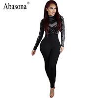Rompers Womens Bodycon Spandex Jumpsuit Black Turtleneck Print Combinaison Femme Long Sleeve Sexy Overalls For Women