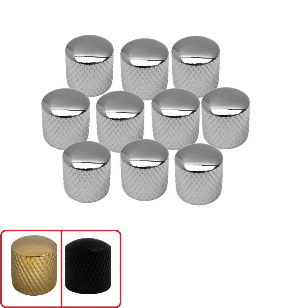 HOT! 10pcs Metal Electric Guitar Bass Tone Volume Control Knobs Dome Knobs Silver/Black/Golden Colors for Choose