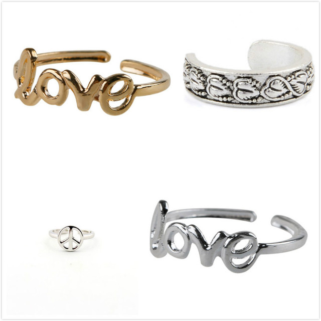 Fashion Adjustable Europe Style Punk Celebrity Fashion Simple Gold Silver Retro Love Toe Ring Beach Foot Jewelry