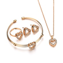 Hot Jewelry Sets For Women 4pcs/lot Heart-Shaped Necklace Earrings Ring Bracelets Set Casual Female Accessories Ornament Gifts multi shaped ring set 4pcs