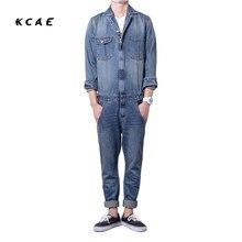 Brand 2017 New Men's Fashion Overalls Blue Full Sleeve Denim Jumpsuits Jeans Set Plus Size