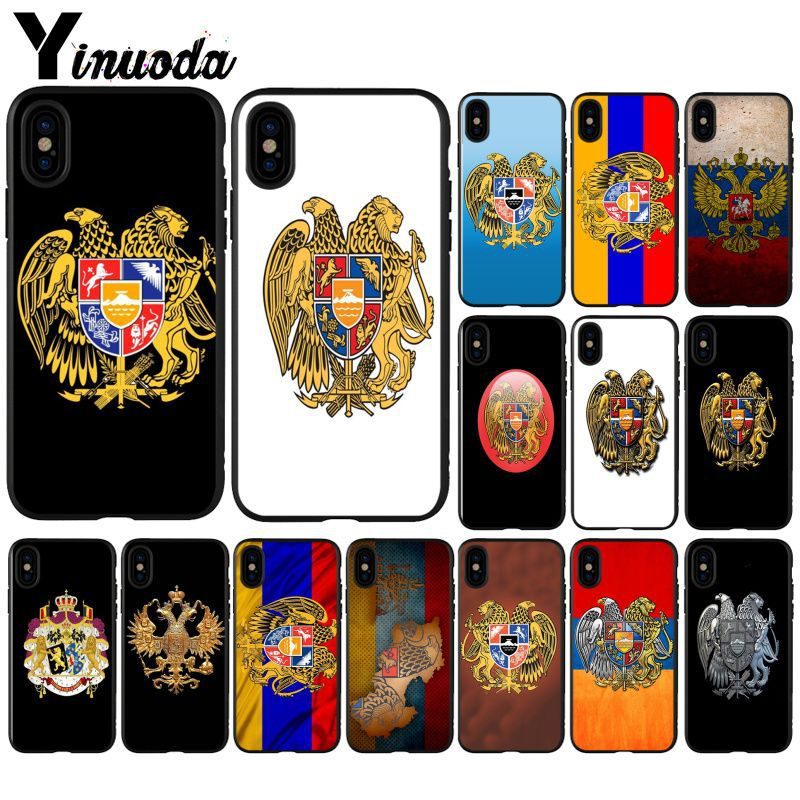 Yinuoda Armenia Albania Russia flag Emblem coat of arms Phone Cover for iPhone 6S 6plus 7plus 8Plus X Xs MAX 5 5S SE XR Case