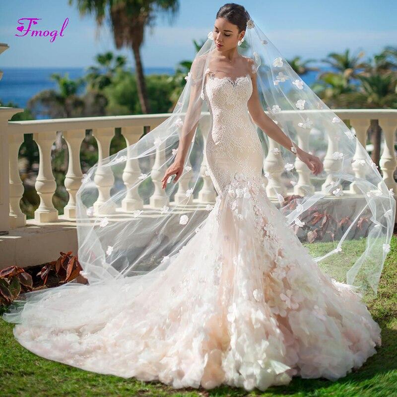 Fmogl Charming Strapless Appliques Mermaid Wedding Dress 2019 Graceful Flowers Lace Princess Trumpet Bride Gown Vestido de Noiva