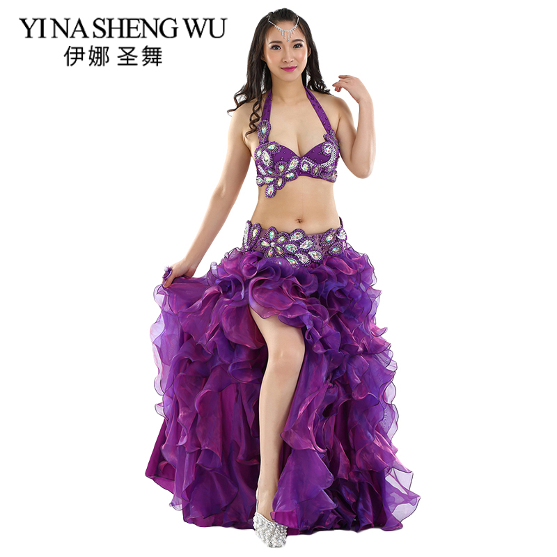 Professional Oriental Dance Costume 2pcs/3pcs Bra Belt Skirt Adult Belly Dance Performance Costumes Professional Belly Dance Set