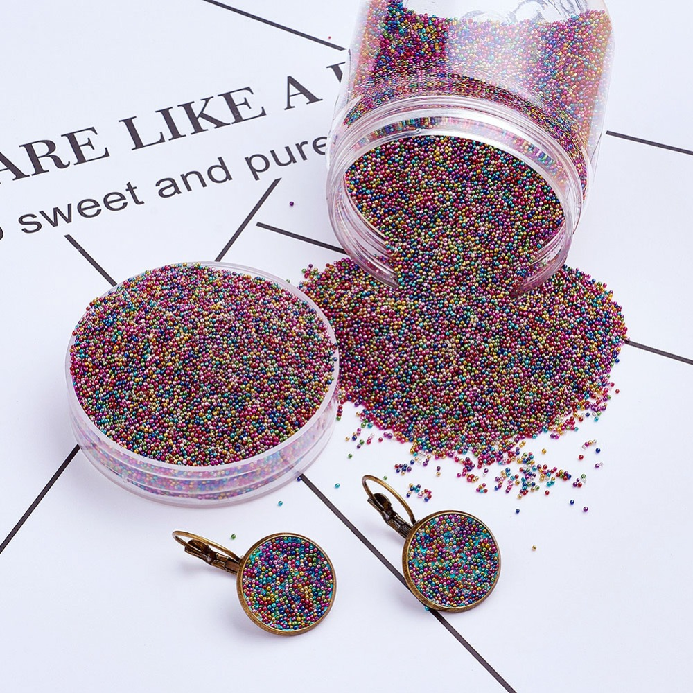 130g 0 6 0 8mm Color Plated DIY 3D Nail Art Decoration Mini Round Glass Shining Fingernail Micro Tips Beads Tiny Caviar Beads in Rhinestones Decorations from Beauty Health