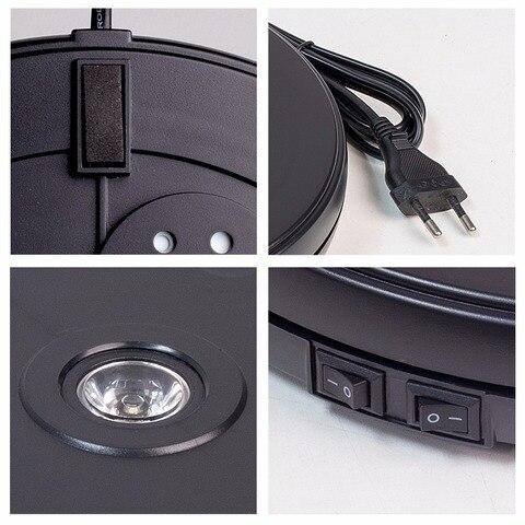 Emissor de Luz Capacidade de Carga Preta do Suporte de Exibição de Gerencio do Diâmetro de 25cm com Luz do Diodo Plataforma Giratória Resistente do Diodo 10 kg Cêntrica com Luz