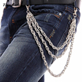 Men Three Strands Silver Metal Twist Wallet Key Chain Fashion Rock Biker Heavy Jeans Chain 3 Layers Hip Hop KB35