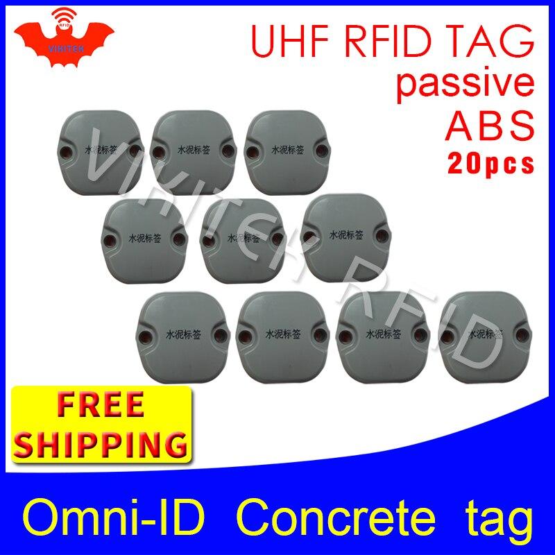 UHF RFID Concrete tag omni-ID 915m 868mhz Impinj Monza4QT EPC 20pcs free shipping durable ABS smart card passive RFID tags