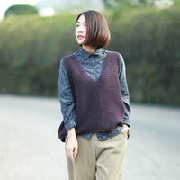 Spring Autumn Pullover Knitted Vest Waistcoat Sweater Women Vintage Casual V Neck Loose Stripe Knit Sleeveless