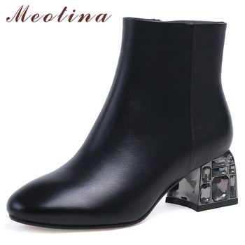Meotina Winter Ankle Boots Women Natural Genuine Leather Chunky High Heel Short Boots Crystal Zipper Shoes Lady Fall Size 33-43