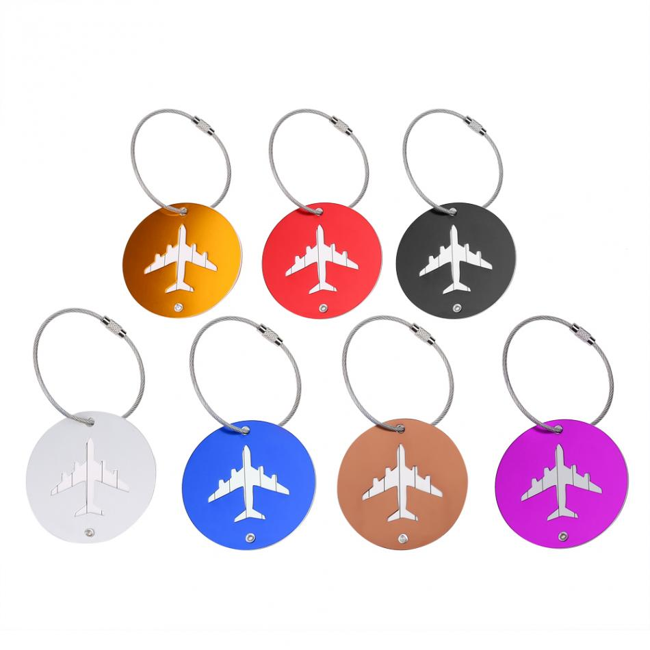 7pcs/Lot Aluminium Alloy Air Plane Pattern Travel Baggage Luggage Suitcase Tag Rectangle ID Name Address Label Holder with Rope