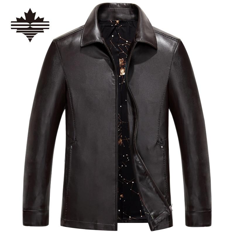 плюс размер бизнес случайный мужские кожаные куртки отложным воротником весна осень мужская искусственной кожи твердые молнии качества pu пальто