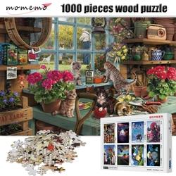 MOMEMO ciekawy kot Puzzle 1000 sztuk drewniane rozrywki zestaw puzzli dla dorosłych zabawki edukacyjne dla dzieci gra logiczna w Puzzle od Zabawki i hobby na