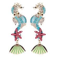 Sea Horse Pattern Dangle Earrings for Female Punk Personalized Starfish Rhinestone Luxury Beach Party Decoration ET234 автозапчасть sea horse m3