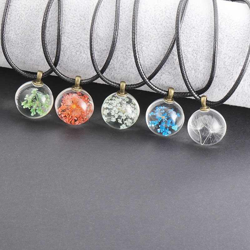2019 new fashion collection flower glass ball ladies necklace pendant rope chain glass zinc alloy jewelry pendant necklace