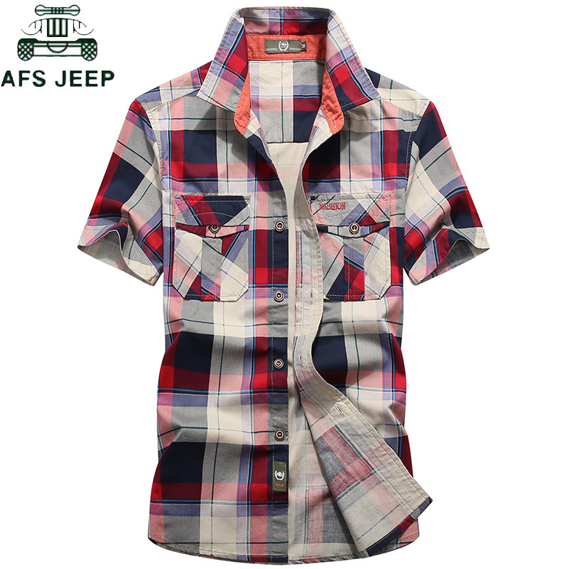 AFS JEEP Brand Clothing Plaid Shirt Men Summer Casual Short Sleeve Cotton Breathable Men Shirt Camisa Masculina Chemise Homme
