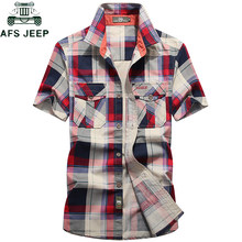 AFS JEEP Brand Clothing Plaid Shirt Men Summer Casual Short Sleeve Cotton Breathable Men shirt Camisa masculina Chemise Homme(China)