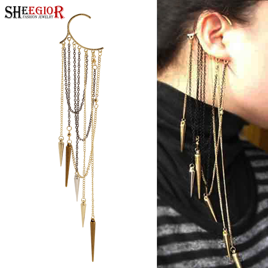 Clip Earrings Sheegior Boho Long Tassels Ear Cuff Earring Bijoux Femme Gold Chains Rhinestone Big Clip Earrings For Women Fashion Jewelry Gift Suitable For Men And Women Of All Ages In All Seasons
