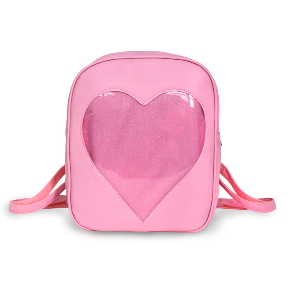 Women Girls Candy Heart Shape Backpacks Harajuku School Bag Transparent Backpack Shoulder Bag For Teenager Girl Crystal Book Bag