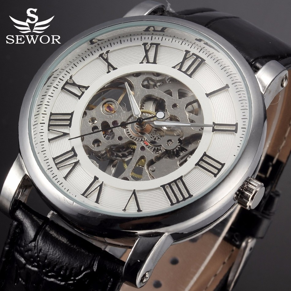 SEWOR Fashion Leather Strap Wristwatches Skeleton Mechanical Watches Men Male Clock Relogio Casual Watch Relojes montre homme bamboo wood watches for men and women fashion casual leather strap wrist watch male relogio