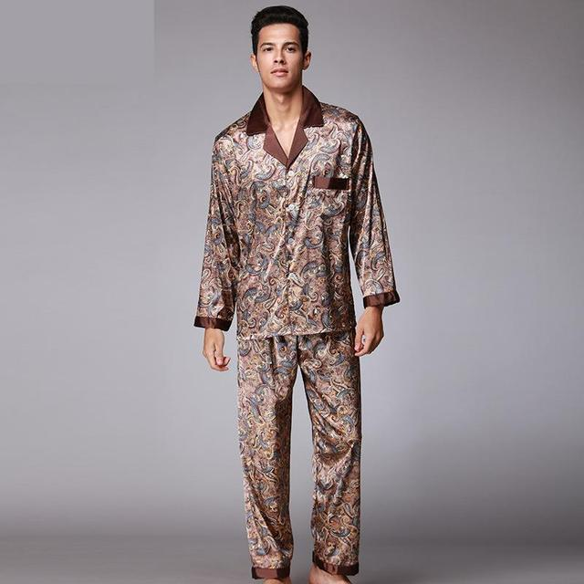 Autumn Luxury Silk Pajamas Mens long sleeved Paisley Pattern Pyjamas Set  Silk Satin Nightwear Soft Sleepwear bf4de93c1