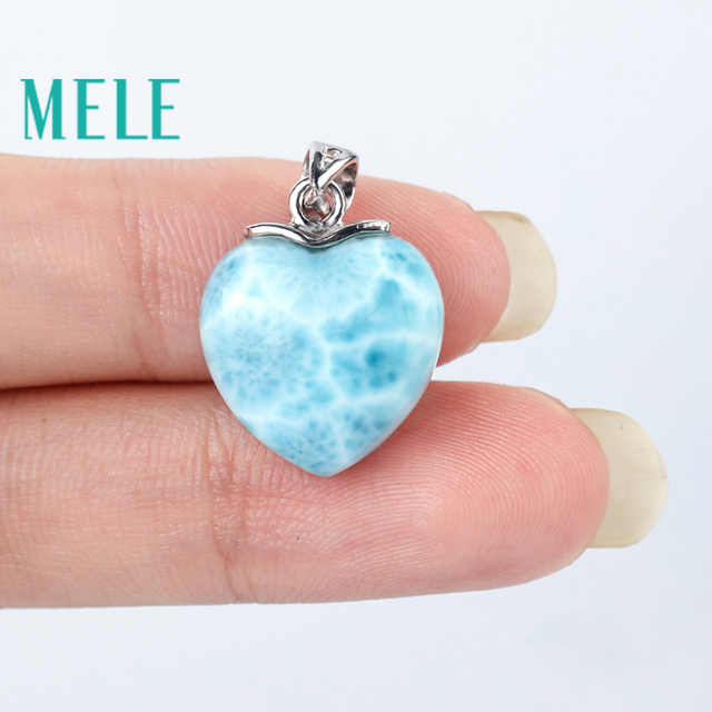 MELE Natural blue Larimar sterling 925 silver pendant for women and man,15mm heart shape Romantic and simple style fine jewelry