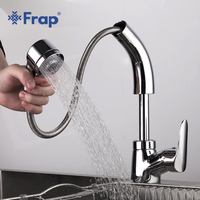 Frap new brass pull out kitchen sink faucet bathroom basin taps 2 ways water outlet for washing cold hot water bath mixer Y10011