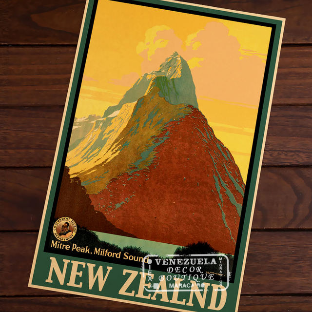 Milford Sound, New Zealand NZ Travel Landscape Vintage Retro Poster Decorative Wall Stickers Posters Bar Home Decor Gift