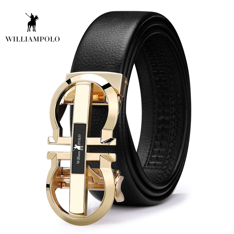 Williampolo  Luxury Brand Designer Leather Mens Genuine Leather Strap Automatic Buckle Waist Belt Gold Belt PL18335 36P-in Men's Belts from Apparel Accessories