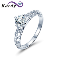 Genuine Wedding Diamond White Gold 14K Solid Proposal Promise Engagement Ring Set Women(0.30cttw, D F Color, VS SI1 Clarity)