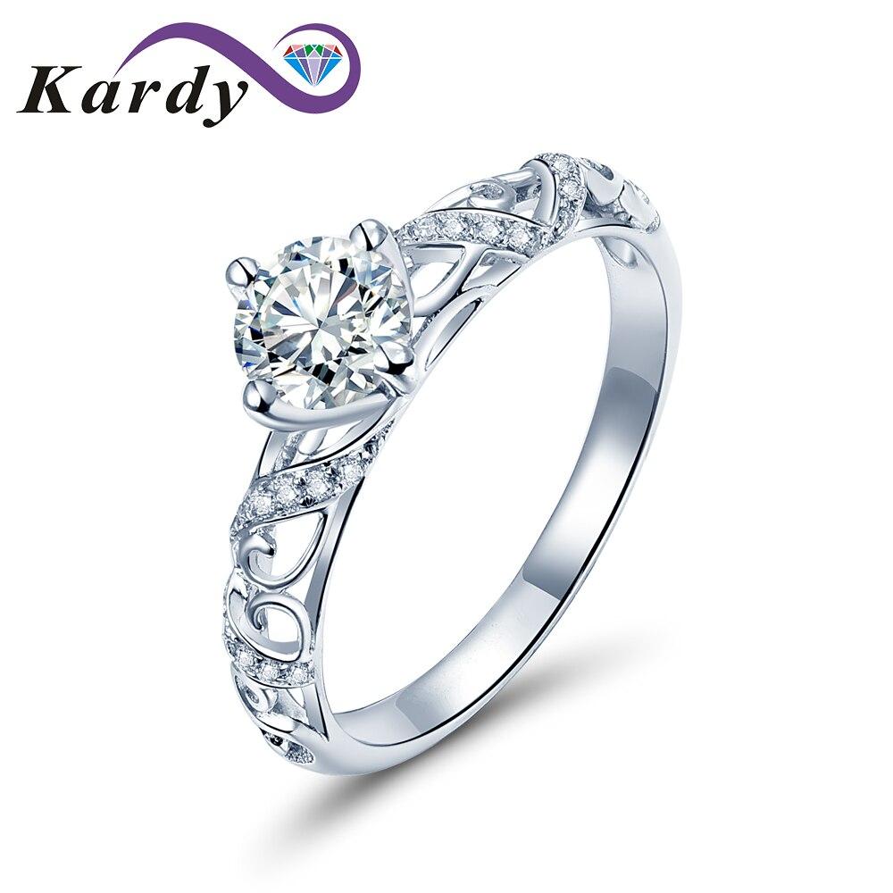 Véritable diamant de mariage or blanc 14 K solide proposition promesse bague de fiançailles ensemble femmes (0.30 cttw, couleur de D-F, clarté de VS-SI1)