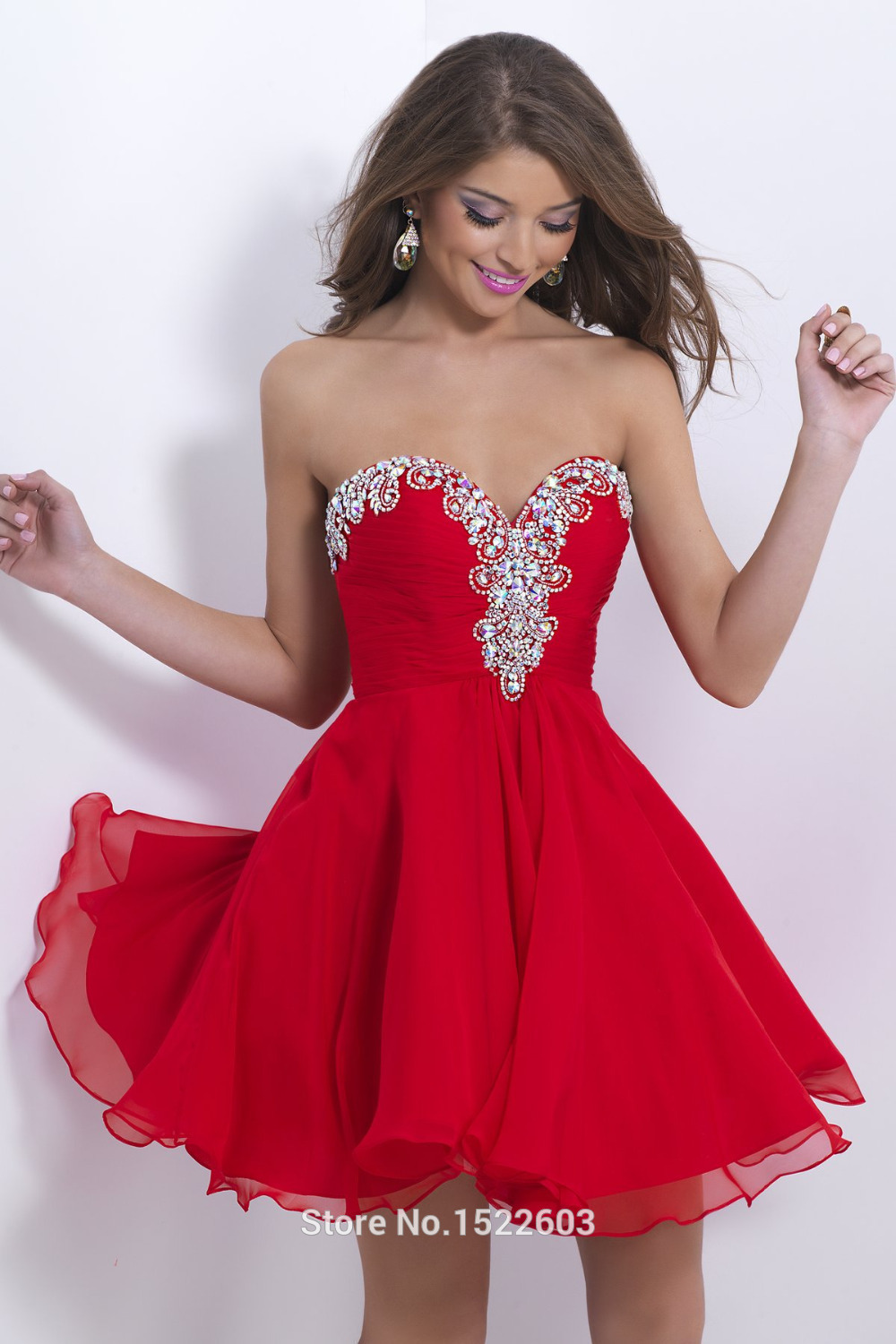 Sexy Red Sweetheart Chiffon Short Prom Dresses 2015 ...
