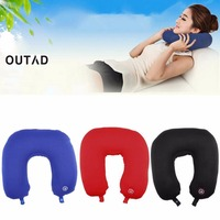 OUTAD U Shaped Neck Pillow Rest Neck Massage Airplane Car Travel Pillow Bedding Microbead Battery Operated