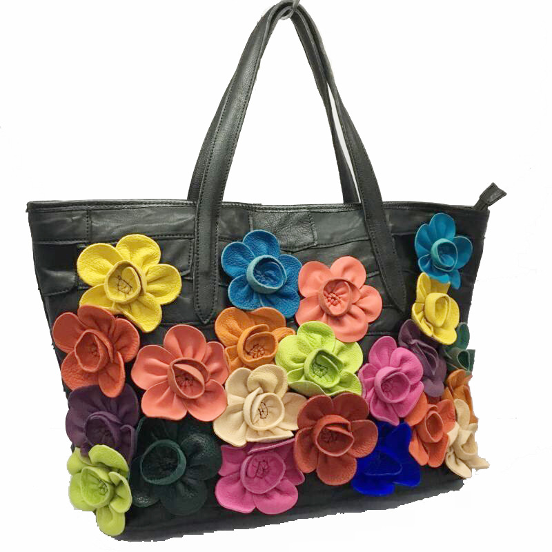 2017 New Fashion Women Real Ladies Soft Genuine Leather sheepskin Tote Shoulder Bags Messenger Flowers Travel Bag Splice Handbag наручные часы casio mtd 1053d 2a