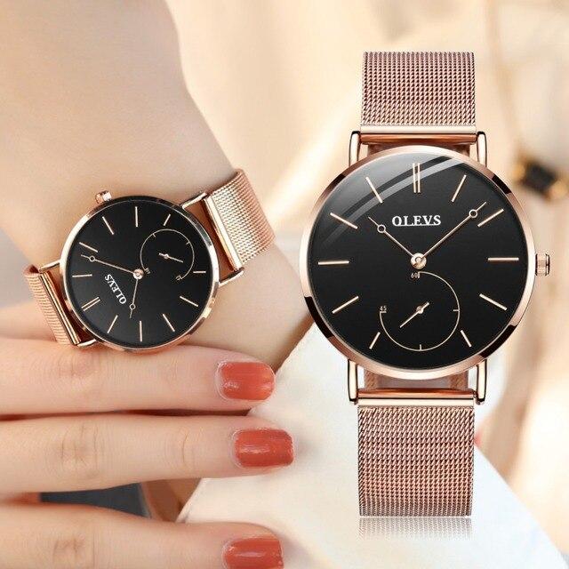 Reloj Mujer Mode Handgelenk Quarzuhr Frauen Schwarz Casual Damen Kleid Uhren Rose Gold Mesh Edelstahl Weibliche Uhr Uhr