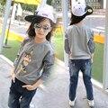 4 5 6 7 8 9 10 11 12 13 anos camisa dos desenhos animados para As Meninas de Algodão de Manga Longa Meninas T-shirt Coisas Cool Girl T Shirt Crianças roupas